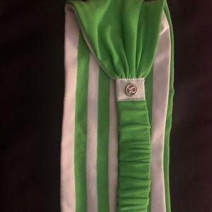Lululemon green/white reversible headband